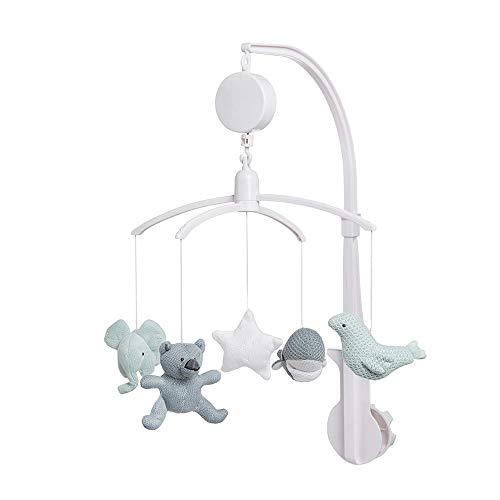 BO Baby's Only - Music Mobile Baby - Con figuras de punto - Fácil fijación - Colores delicados - Stonegreen / Mint / White