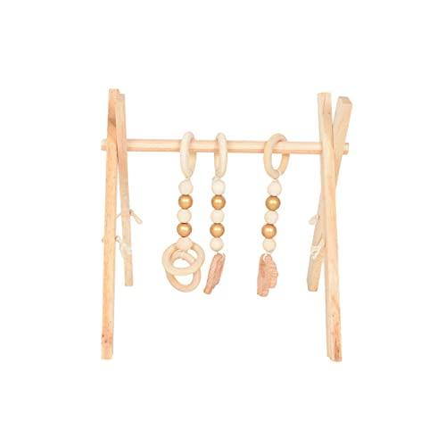 Primlisa Play Trapeze - Arco de juego para bebés |  Trapecio de madera del juego del marco del gimnasio del bebé |  Gimnasio para bebés con centro de actividades plegable |  Fitness rack baby gym con sonajeros