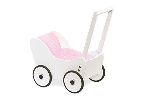 Cochecito de muñecas Pinolino Maria, fabricado en madera, con sistema de frenado, andador con ruedas de madera engomadas, para niños de 1 a 6 años, blanco