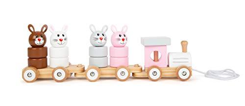 Small Foot 11719 Tren de arrastre de la familia de conejos de madera, juego de clavijas, juguete de arrastre y torre de apilamiento en uno, juguetes a partir de los 12 meses