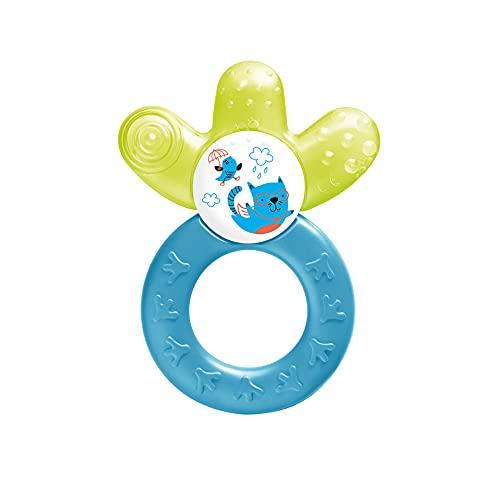 MAM Cooler Nuevo, anillo de dentición para bebés que promueve el sentido visual y las habilidades motoras, el juguete de agarre con parte de enfriamiento por agua también llega a los molares, a partir de 4 meses, amarillo / azul