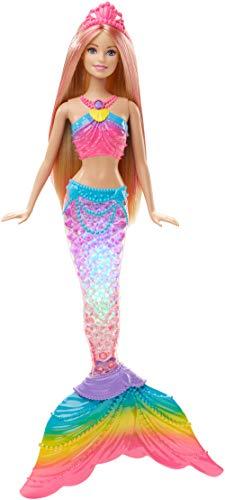 Barbie DHC40 - Muñeca sirena con luz arcoíris Dreamtopia con espectáculo de luces, juguetes para la bañera, juguetes a partir de 3 años