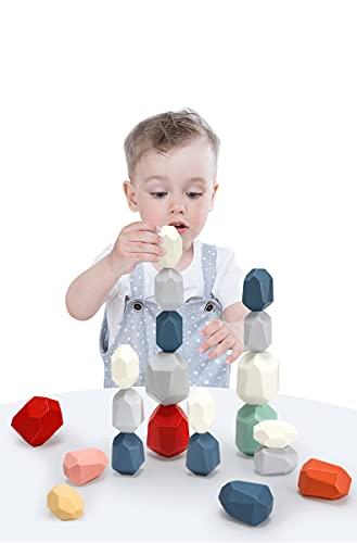 5 piezas de juguetes de madera para apilar, juguetes de rompecabezas para niños, piedras de madera de colores, piedras de colores, piedras de equilibrio de meditación, juguetes de madera montessori, juego de bloques de construcción de madera para educación, juguetes educativos