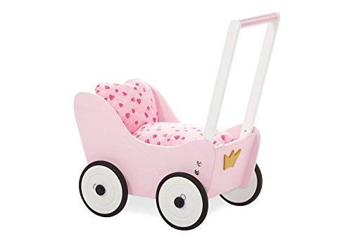 Cochecito de muñecas Pinolino Princess Lea, fabricado en madera, con sistema de frenado, andador con ruedas de madera engomadas, para niños de 1 a 6 años, rosa, blanco y dorado