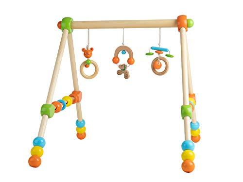 Bieco jugar trapecio |  Arco de juego para bebés - figuras, sonajeros, pelotas - regulable en altura |  Juega hoja de madera bebé |  Juega madera de trapecio |  Baby Mobile Wood |  Centro de actividades Gimnasio para bebés |  Bebé de juguete de madera