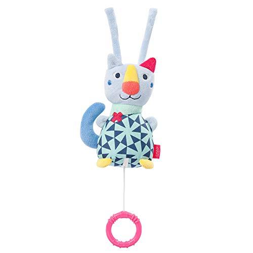 Fehn 055023 Mini caja de música gato COLOR Friends - Mimoso caja de música para bebé con mecanismo de reproducción extraíble y accesorio - Melody 'Dreaming' - Para bebés a partir de 0 meses - Tamaño: 15 cm
