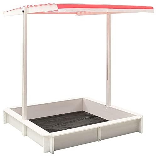 Tidyard cajón de arena de madera de abeto con techo ajustable cajón de arena cajón de arena cajón de arena cajón de arena cajón de arena de madera juguetes para niños blanco rojo UV50 118x118x140cm con materiales de montaje
