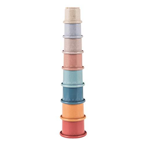 Toddmomy Tazas apilables Tazas apilables Tazas nido Juguetes educativos de aprendizaje temprano para niños Juguetes de baño Juguetes de agua para niños Bañera interior al aire libre Juego de playa 8 piezas