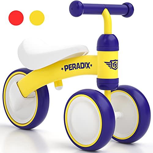 Peradix bicicleta de equilibrio para niños, bicicleta de equilibrio a partir de 1 año, bicicleta para caminar sin pedales, volante ajustable, primer triciclo de bicicleta de equilibrio para bebés, regalo de juguete para niños y niñas de 10 a 36 meses (amarillo)