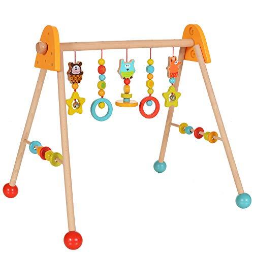 LCP Kids Baby play arco trapezoide de madera, juguete colgante ajustable en altura