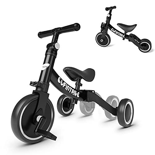 besrey bicicletas de equilibrio 5 en 1 bicicleta de equilibrio triciclo para niños triciclo bicicleta de equilibrio andador para niños de 1 a 4 años - negro