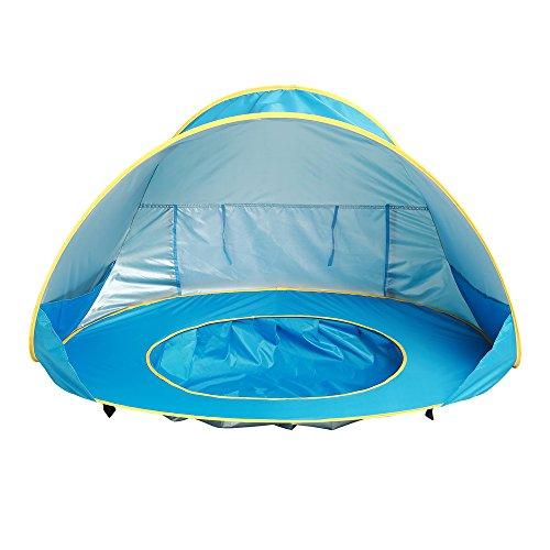 Carpa para piscina para bebés Carpa plegable para playa para bebés Carpa emergente automática Carpa para acampar Sombrilla para el sol Cabaña de playa portátil Protección UV Refugio solar para niños pequeños (Azul)