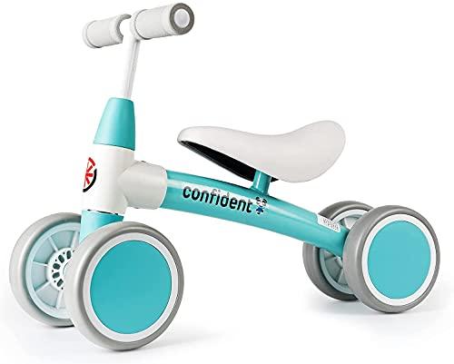 XIAPIA bicicleta de equilibrio para niños sin pedales para niños y niñas de 1 año, primer triciclo de bicicleta de equilibrio como regalo de cumpleaños, apto para 12-36 meses azul