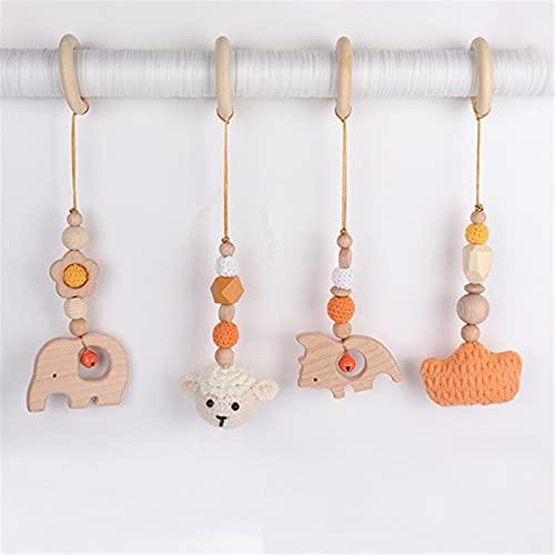 EXQULEG - 4 arcos de madera para bebés, juguetes de gimnasio para bebés, mordedor para bebés, colgante para jugar, trapecio, juguetes para actividades de gimnasio para bebés (naranja)