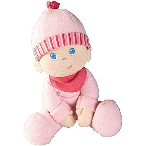 Haba 2618 - muñeco de peluche Luisa, suave muñeco de trapo, para bebés a partir de 0 años, con pelele de felpa mullida, regalo ideal para nacimiento o bautizo