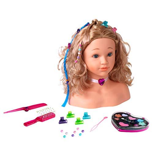 Theo Klein 5240 Princess Coralie cabezal de maquillaje y peluquería 'Sophia' I Con pinzas para el cabello, maquillaje dermatológicamente probado y muchos otros accesorios