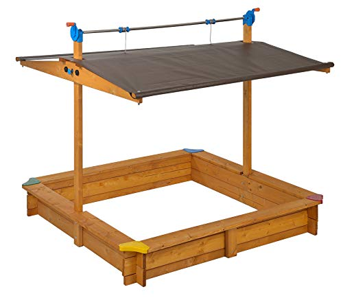 GASPO 310016 - Arenero de madera Mickey 140 x 140 cm con techo abatible / techo de manivela