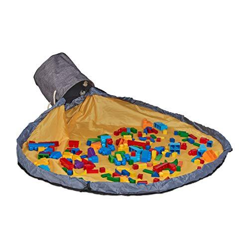Bolsa de almacenamiento Relaxdays con alfombra de juego, almacenamiento de juguetes, niños, habitación infantil ordenada, H x P 30x32 cm, gris-amarillo