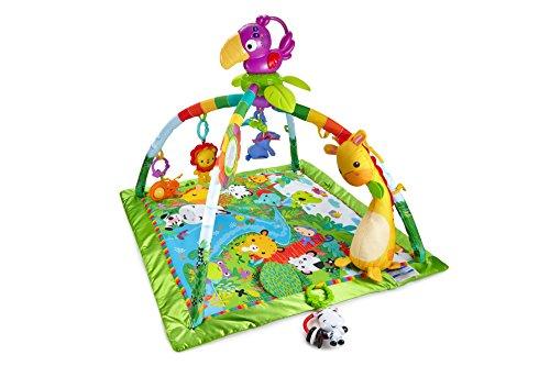 Fisher-Price DFP08 - Manta de aventuras en la selva tropical, manta de juego con música y luces, manta de juego para bebés con un arco de juego suave, a partir de 0 meses, con tucán