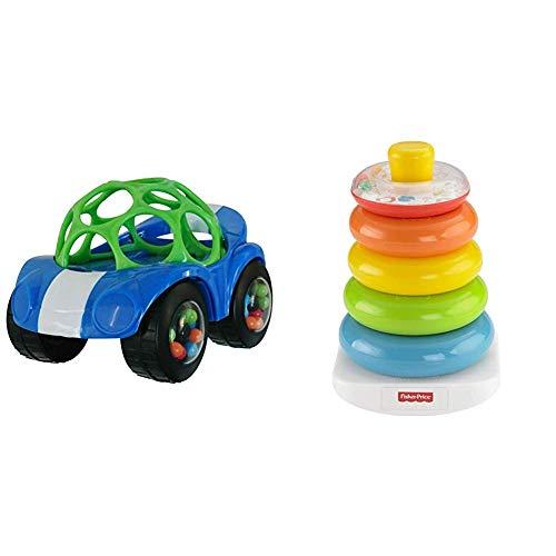 Oball, coche de juguete con sonajero, 1 pieza, colores surtidos y pirámide de anillos de color Fisher-Price FHC92, torre de apilamiento colorida, habilidades motoras y juguetes educativos para clasificar y apilar, a partir de los 6 meses