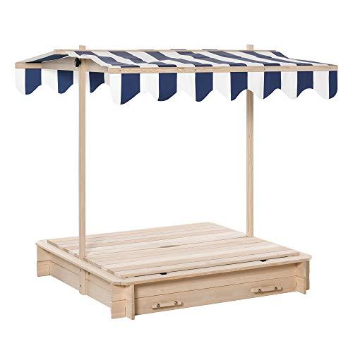 Cajón de arena outsunny con techo desmontable, respaldos ajustables madera de cedro 3-7 años 106 x 106 x 121 cm natural
