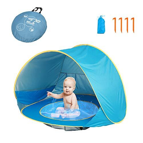 Carpa de playa para bebés HUSAN, carpa de viaje para bebés portátil con luz emergente con mini piscina UPF 50+ Protección UV Los refugios de protección solar para uso en exteriores incluyen una bolsa de transporte