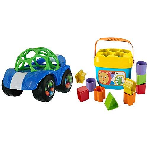 Oball, coche de juguete con sonajero, 1 pieza, colores surtidos y Fisher-Price FFC84 Babies First Building Blocks Juego de clasificación de formas con cubos de juego y un balde para guardar, a partir de los 6 meses