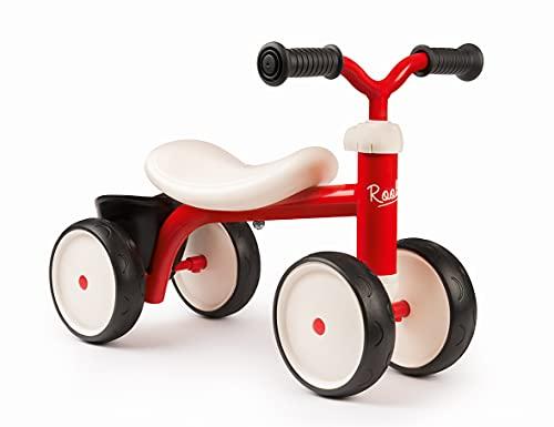 Smoby 721400 - Bicicleta de equilibrio Rookie roja - Andador ideal para niños a partir de 12 meses, andador bicicleta con cesta de juguetes, diseño retro para niños y niñas