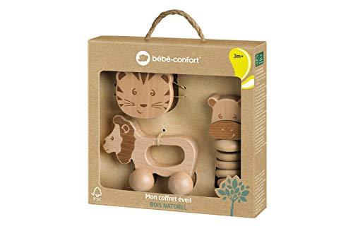 bébé confort 3602202900 Juguetes de madera para bebés, juguetes educativos sostenibles hechos de madera 100% FSC, lindo set de regalo para bebés: juguetes con ruedas + sonajero de campana + cadena de sonajero, marrón