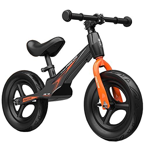 Bicicleta de equilibrio WYYY bicicleta de equilibrio ajustable para caminar bicicleta de equilibrio para niños con tamaño de neumático: 12 pulgadas - bicicleta de equilibrio estable y segura a partir de 3 años (color: negro)
