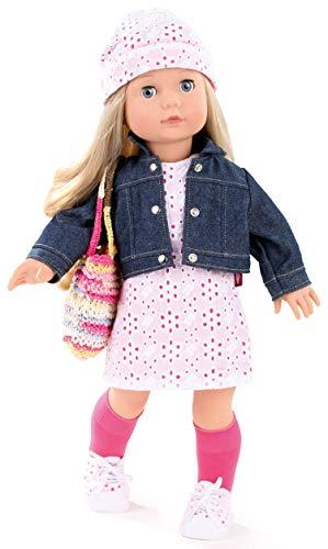 Götz 1490366 Muñeca Jessica Color & Lace Precious Day Girls - Muñeca de pie de 46 cm de altura, cabello largo rubio, ojos azules soñolientos - Juego de 10 piezas