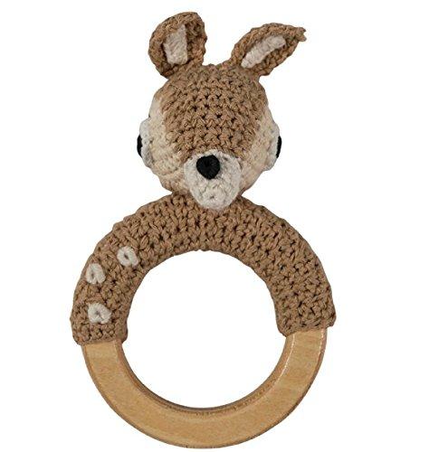 Sebra - sonajero de ganchillo - sonajero de lana - ciervo en anillo de madera - algodón - madera - 8 x 15 cm