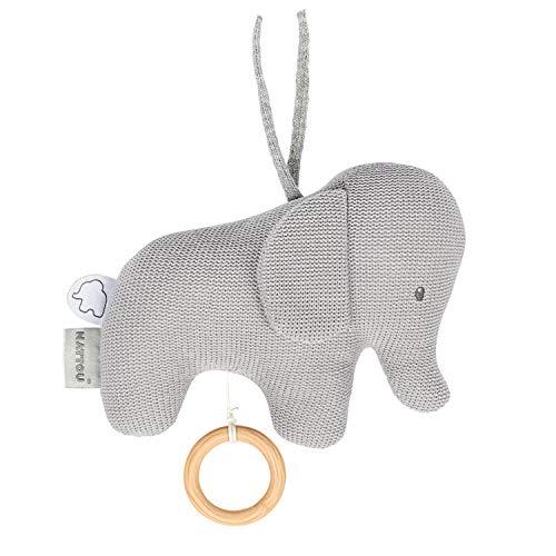 Nattou 929042 Tembo Elefante de punto de algodón Musical Soft Toy Caja de música, gris (tejido), 18 x 21 cm