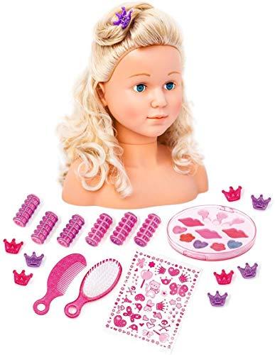 Bayer Design 90005AB Frisierkopf cabezal de maquillaje supermodelo con cosméticos, 27 cm, pelo largo rubio