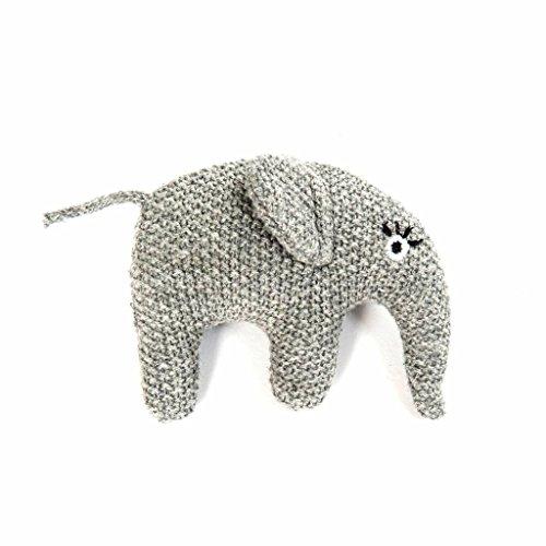 Smallstuff - sonajero, sonajero de tejer - elefante - gris - algodón - 7 x 8 cm