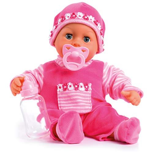 Bayer Design 93800-rosa 93825AA Baby doll Primeras palabras, ojos soñolientos, habla 24 sonidos de bebé, cuerpo suave, con chupete y biberón, 38 cm, rosa