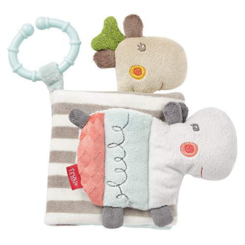 Fehn 059045 Libro de tela Loopy & Lotta - Libro de tacto de tela con motivos de animales - Para bebés y niños pequeños a partir de 0+ meses - Dimensiones: 11 x 11 cm