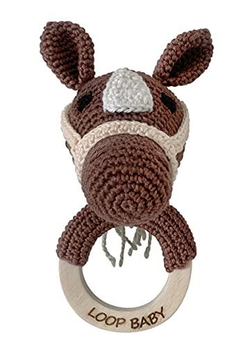 LOOP BABY - Mordedor Pony Paule - Juguete orgánico sostenible hecho de algodón ecológico - Juguete de agarre como ayuda para la dentición - Mordedor de ganchillo con anillo de madera como regalo para recién nacidos - Sonajero de madera para bebés