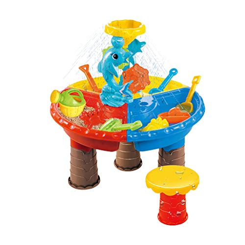 Dainzuy mesa de juegos para niños arena y agua arena y agua juguetes de mesa mesa de juego de arena mesa de juego de agua accesorios de mesa de excavación 2 en 1, incluidos juguetes de arena para niños