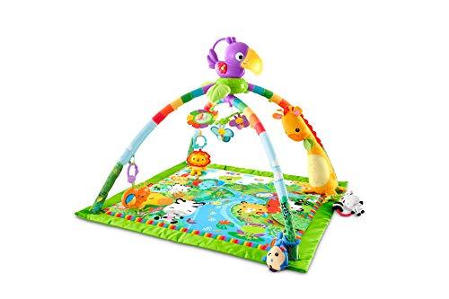 Fisher-Price GXC35 - Manta de aventuras en la selva, manta para gatear con música y luces, manta de juego para bebés con arco de juego suave, a partir de 0 meses, con tucán, desviaciones en el empaque reservado