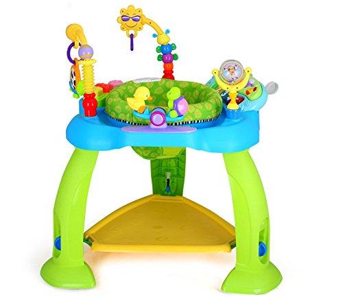 Eastsun Baby Jumperoo de actividad ajustable en altura con luces y melodías de 6 a 12 meses, Baby Spring Jumper y centro de juegos con juguetes interactivos (azul)
