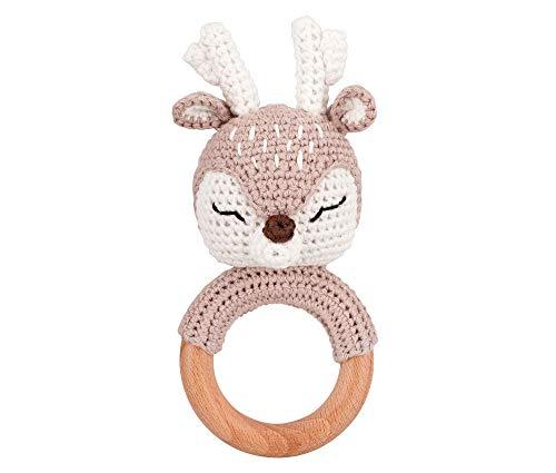 Bunnywelt sonajero para bebés para niñas y niños a partir de 0 meses (sonajero de ciervo neutro) - sonajero de ganchillo hecho a mano para bebés, para la dentición del bebé, anillo de mano a ganchillo - regalo de nacimiento / regalo de Pascua bebé