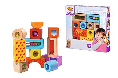 Eichhorn bloques de construcción de sonido de madera, 12 bloques de construcción de sonido impresos en colores con diferentes ruidos, bloques de construcción de madera de abedul para niños a partir de 12 meses