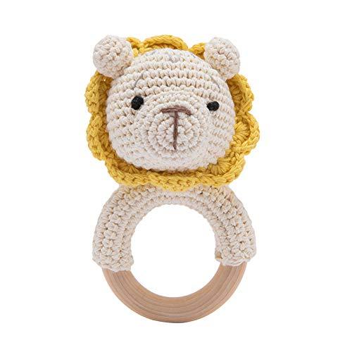 Mamimami Home Teether Crochet Baby Rattle Crochet Teether Juguete de agarre de madera Sonajero para bebé Regalo para el nacimiento Hecho a mano Niño y niña, Regalo para el nacimiento (León)