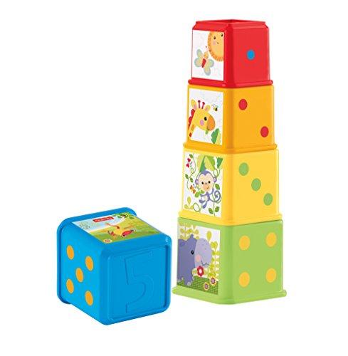 Fisher-Price CDC52 - Cubos apilables coloridos Juguetes para bebés para clasificar y apilar, juguetes a partir de los 6 meses