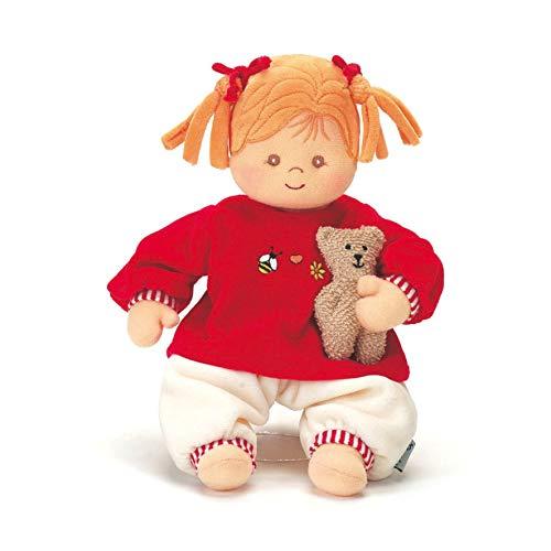 Sterntaler 3011570 Muñeca de juego Magdalena, sonajero integrado, edad: Para bebés desde el nacimiento, 33 cm, rojo / beige