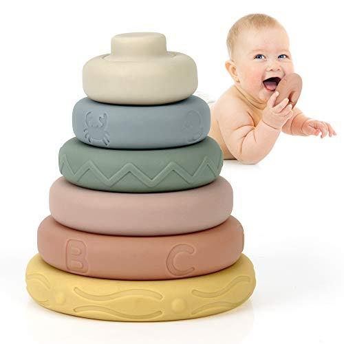 Mini Tudou juguetes apilables de 6 piezas con anillos, torre apilable y anillos de dentición para apilar juegos, juguetes para apretar con educación temprana, los mejores juguetes de regalo para niños y niñas a partir de 6 meses