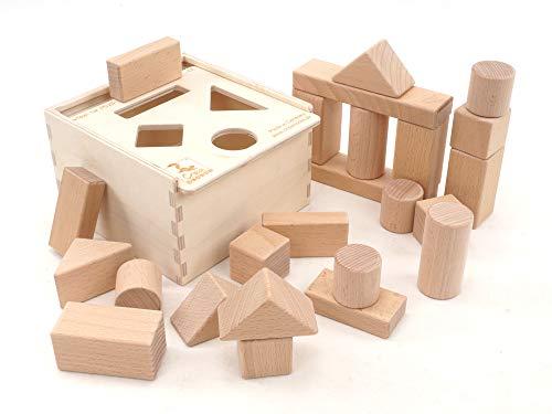 CreaBLOCKS bloques de construcción de madera 2 en 1: caja y juego de bloques de construcción para bebés bloques de construcción sin tratar para niños pequeños a partir de 6 meses Made in Germany