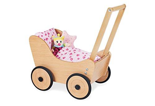 Cochecito de muñecas de madera Pinolino con ruedas de goma