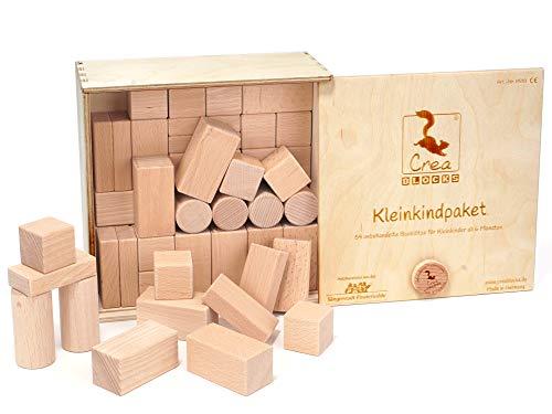 Paquete para niños pequeños de bloques de construcción de madera CreaBLOCKS 54 bloques de construcción sin tratar para niños pequeños a partir de 6 meses (en la caja con tapa deslizante) Made in Germany
